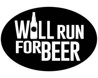 Will Run For Beer Black Oval Decal