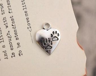 20 antique silver paw print charms cat dog paws charm pendant pendants  (L10)