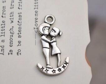 20 antique silver couple charms  charm pendant pendants (YQ1)