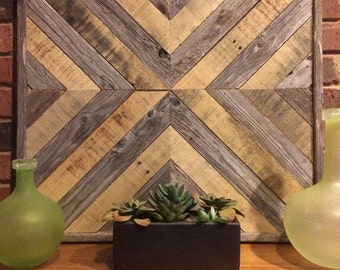 Natural Chevron X Reclaimed Wood Wall Art