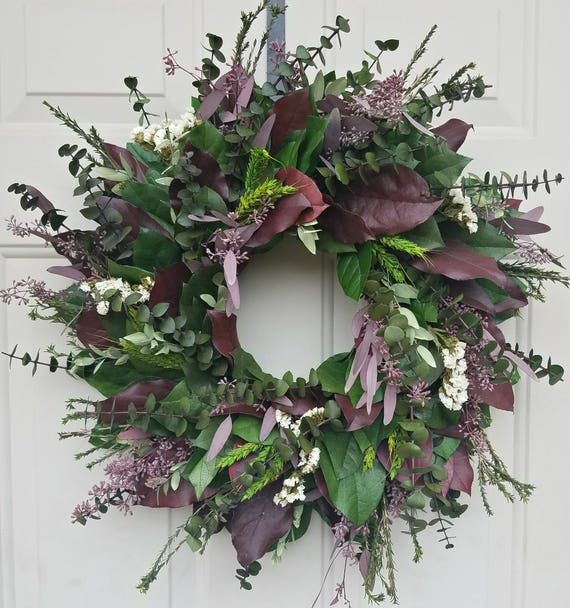 "Custom sizes, 24""  dried wreath, wreath, burgundy wreath, seeded eucalyptus wreath, leaf wreath, preserved wreath, decorative wreath"