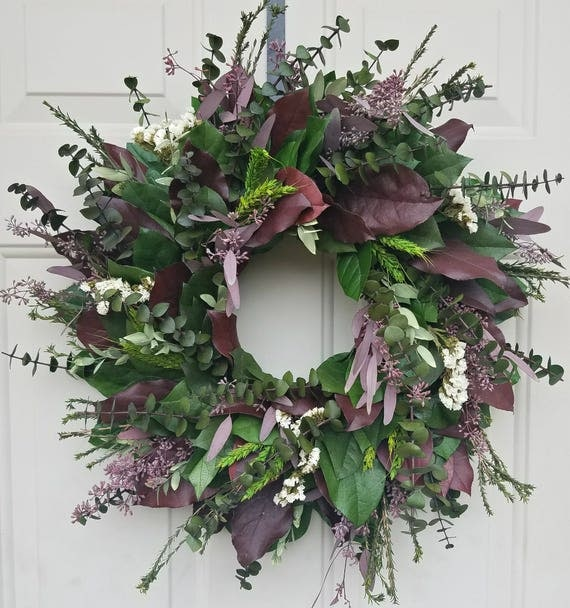 "30"" wreath, wreath, burgundy wreath, seeded eucalyptus wreath, leaf wreath, dried wreath, preserved wreath, decorative wreath"