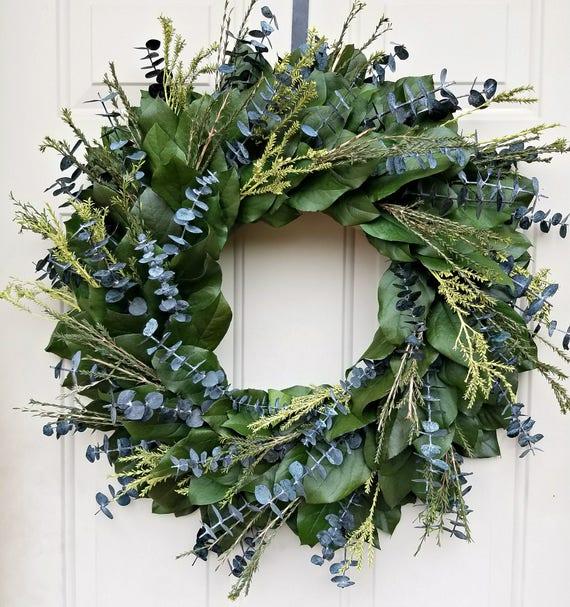 24 inch wreath, preserved lemon leaf wreath, custom sizes, preserved wreath, small wreath, natural wreath, salal wreath, indoor wreath