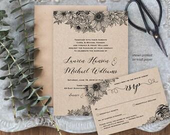 Wedding Invitation Set, Rustic Floral Wedding Invite Template, Instant Download, DIY Printable File, Editable Text, PDF Template #025B