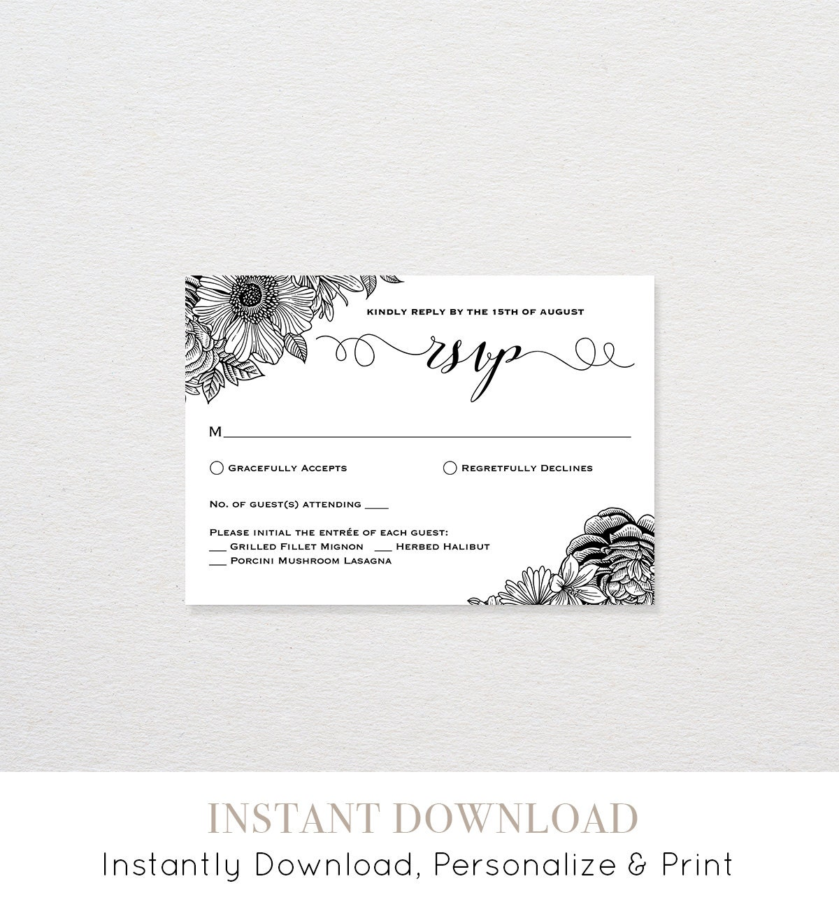 RSVP Card Printable Wedding Response Card RSVP Postcard Template – Rsvp Card Template Word