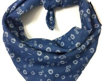 Flower Denim Dog Bandana, Tie on Dog Bandana- Limited Quantity