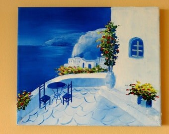 Santorini II Greece Oil Painting on Canvas Art Landscape Painting with Palette Knife Gift