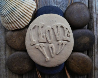 I love you Engraved stone Personalized gifts Valentines day love quotes  Sandblasted