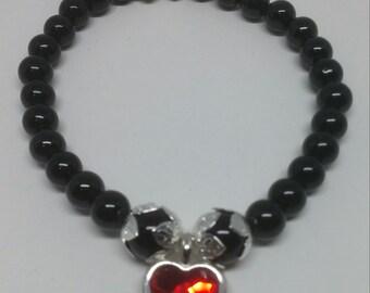 Black Onyx with Red Swarovski Crystal Heart