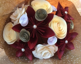 Anniversary gift – Paper Flower Bouquet in Ruby Red and Cream – Alternative Wedding Flowers – Gifts for Women