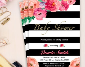 floral baby girl shower invitation, watercolor flower invites, baby shower stripes invitation, black white stripe baby shower invite