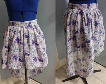 floral purple castcading asymmetrical skirt