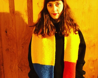 Swim Between The Flags Scarf (Blue, Yellow and Red Icelandic Lopi Scarf)