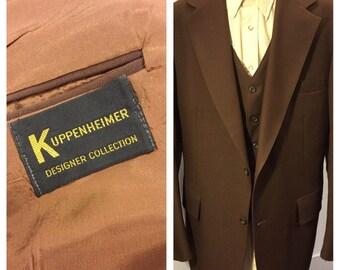 Suit Vintage 1970's Mens Three Piece Brown