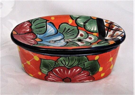 Talavera Pottery Soap Holder Mexican Folk Art Kitchen Bath