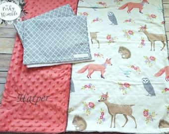 Baby girl gift set, Embroidered baby blanket, Woodlands baby blanket bedding, Girl deer burp cloth set, Minky baby blanket, Fox baby bblanke