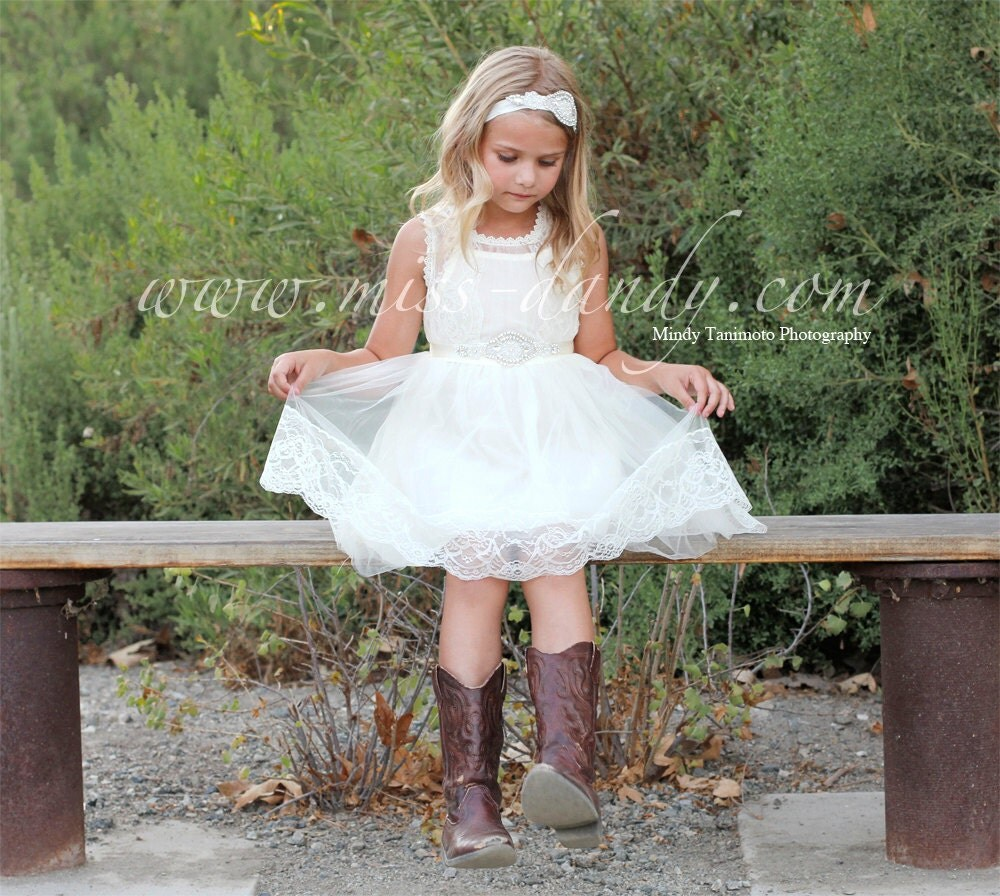 Grace Dress - Lace Flower Girl Dress, Off White French Lace & Rhinestone Sash Dress, First Communion dress, Boho Bohemian dress, Rustic girl