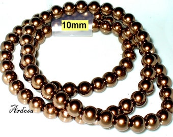 1 strand 82cm = 86 glass pearl beads 10 mm Brown (810.4.1)