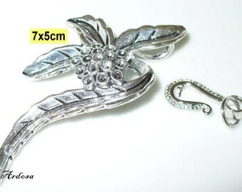 1 followers, connector, Cap, flower, Tibet silver 70x50mm (K144. 3)