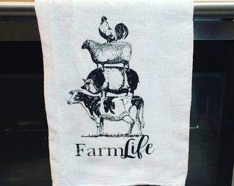 Farmlife Stacked Cow Pig Sheep Chicken Rooster Dish Towel Flour Sack Tea Towel