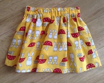 Yellow Bunny and Toadstool skirt 2-3 yrs, Bunny and Toadstool skirt, Easter skirt, Bunny Skirt, Toadstool skirt