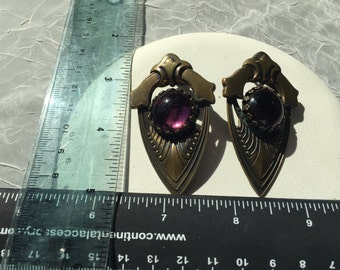 Large Costume Earrings with Purple Stones