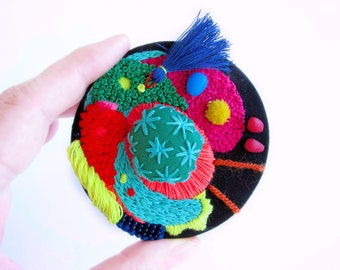 Textile Brooch Neon - Broderie - Bordado - Embroidered Jewelry - Blue Tassel Brooch - Colorful Fabric Badge - Neon Colors - Statement Pin