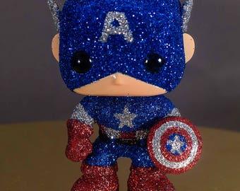 Standing Captain America Glittered Pop Vinyl