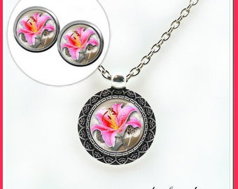 Jewelry set cabochon jewelry necklace earrings * Wild Orchid *.