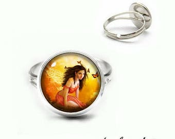 Cabochon ring finger ring round cabochon 12 mm fairy with BUTTERFLIES