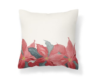 Throw Pillow Poinsettia, Decroative Pillow, Poinsettia Cream