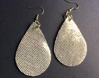 Teardrop leather earrings, gold microdot metallic leather teardrop earrings, gold leather earrings