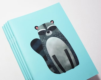 A5 Cute Raccoon Notebook. 20 lined pages. Matte lamination pleasant to the touch.