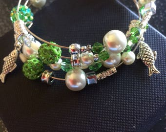 Fish Themed Memory Wire Bracelet In green and silver. Adult Size