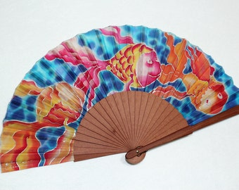 Silk Hand Fans  handpainted. Handmade blue  hand fan. Gift for her. Birthday gift. Colorful fish . Fashion accessories. Spanish Hand Fan.