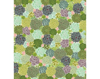 Succulent Wrapping Paper   green thumb   garden   gardner gift   vintage   green   pink  