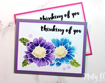 Handmade Hand Stamped Thinking of You Card - Sympathy Card - Get Well Card