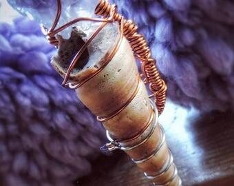 Amethyst sea shell copper wrap