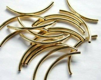 10/20x gold tube beads long curved stick earring spacer tubes findings 35x2mm diy jewelry jewellery making necklace bracelet supply UK