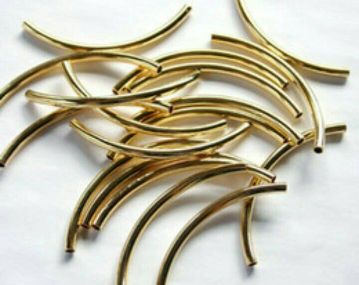 Gold tube beads long curved stick earring spacer