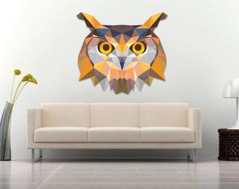 Owl wall Decal Sticker Modern Geometric Low poly Owl spirit animal - color High Quality Laminated Decal for Living Guest and Kids room