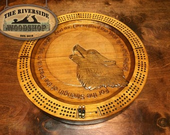 The Strength of the Wolf -- 3 Man Cribbage Board!!