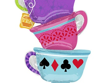 "Alice In Wonderland Party Balloons, Tea Cup Party Balloons, 33"" Mad Hatter Party Alice In Wonderland Tea Cups, Tea Party"