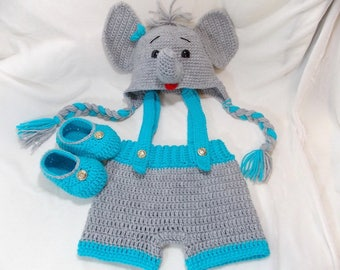 teal elephant outfit, baby elephant outfit, crochet elephant set, newborn elephant hat, newborn elephant hats, crochet photoprops