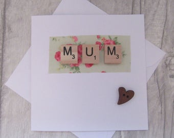 Mum Card, Mother's Day card, Mum Birthday Card, Mam Card, Fabric Card, Natural White, Greeting Card, Occasion Card