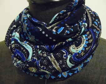 INFINITY Scarf. Black.Blue Moroccan Print Jersey Knit.Gift.Her.Daughter.Sister.Aunt.Friend.Tube Scarf.Scarves.Circle Scarf.Gift ideas