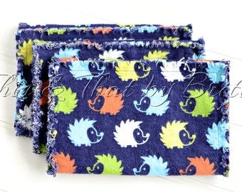 Flannel Baby Burp Cloth // Ragged Edge Burp Cloth // Set of 3 // Navy Lime Orange Hedgehog