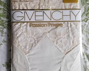 Vintage NEW Givenchy stretch satin lace bikini-top pantyhose, sheer ivory legs. Bridal wedding stockings. Sandaltoe. Perfect lingerie w bra!