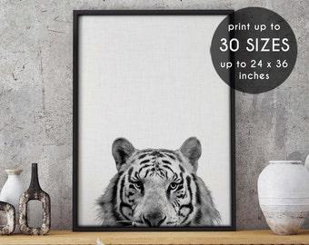 Tiger, tiger print, peekaboo, nursery animal art, home decor, wall art print, woodland animals, animal poster, woodland animal,wall decor,10