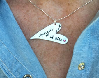 Hand Stamped Personalised French Marraine Qui Déchire, Heart Message Pendant Godmother